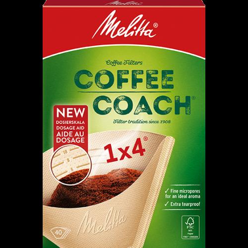Filtertueten Melitta Filtertuete 1x4 CoffeeCoach Melitta 6766425 1 500x500 - Комплект фильтров для кофе 1X4/40 с метками для дозир.